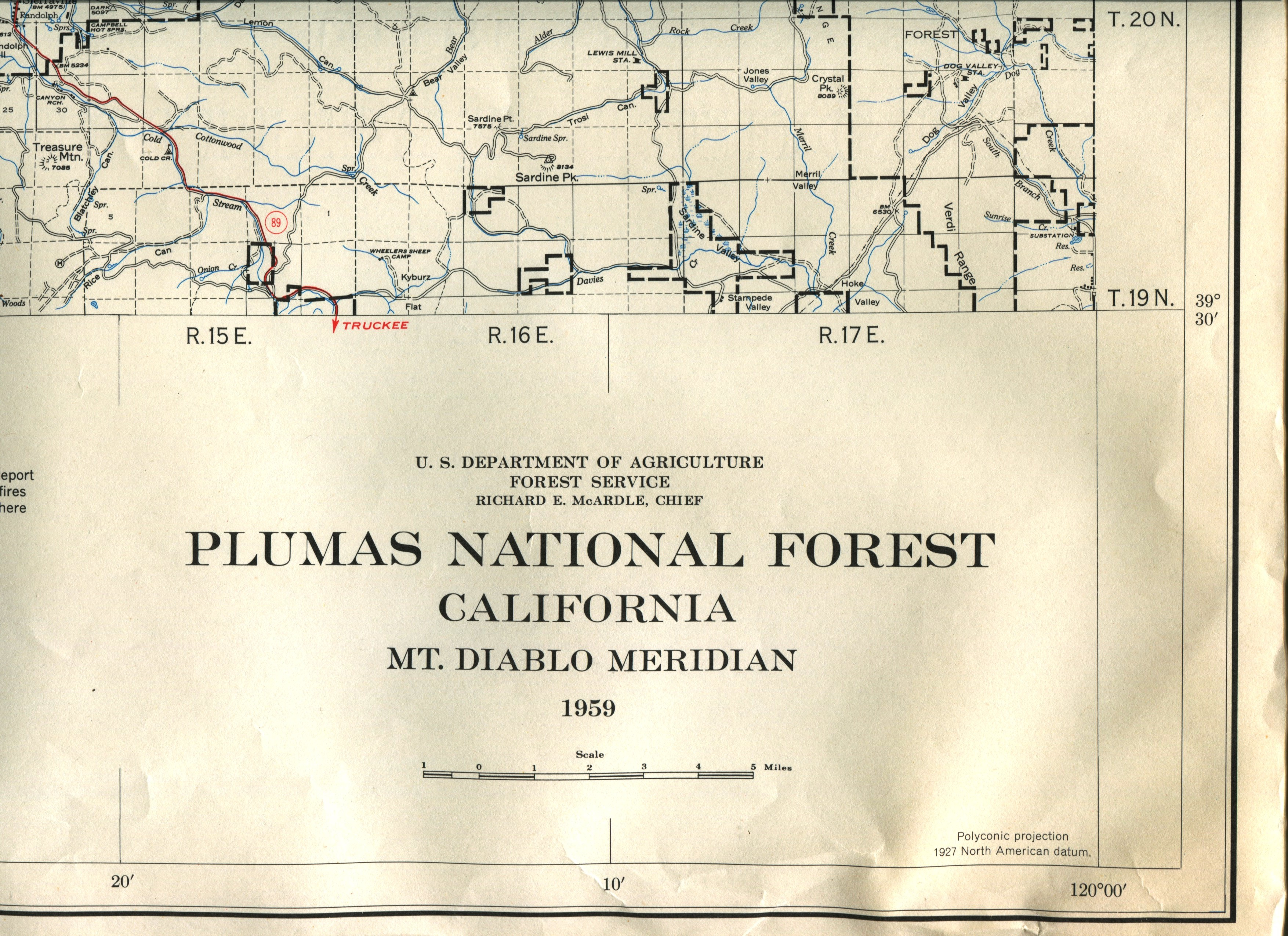 Plumas National Forest Map 1959