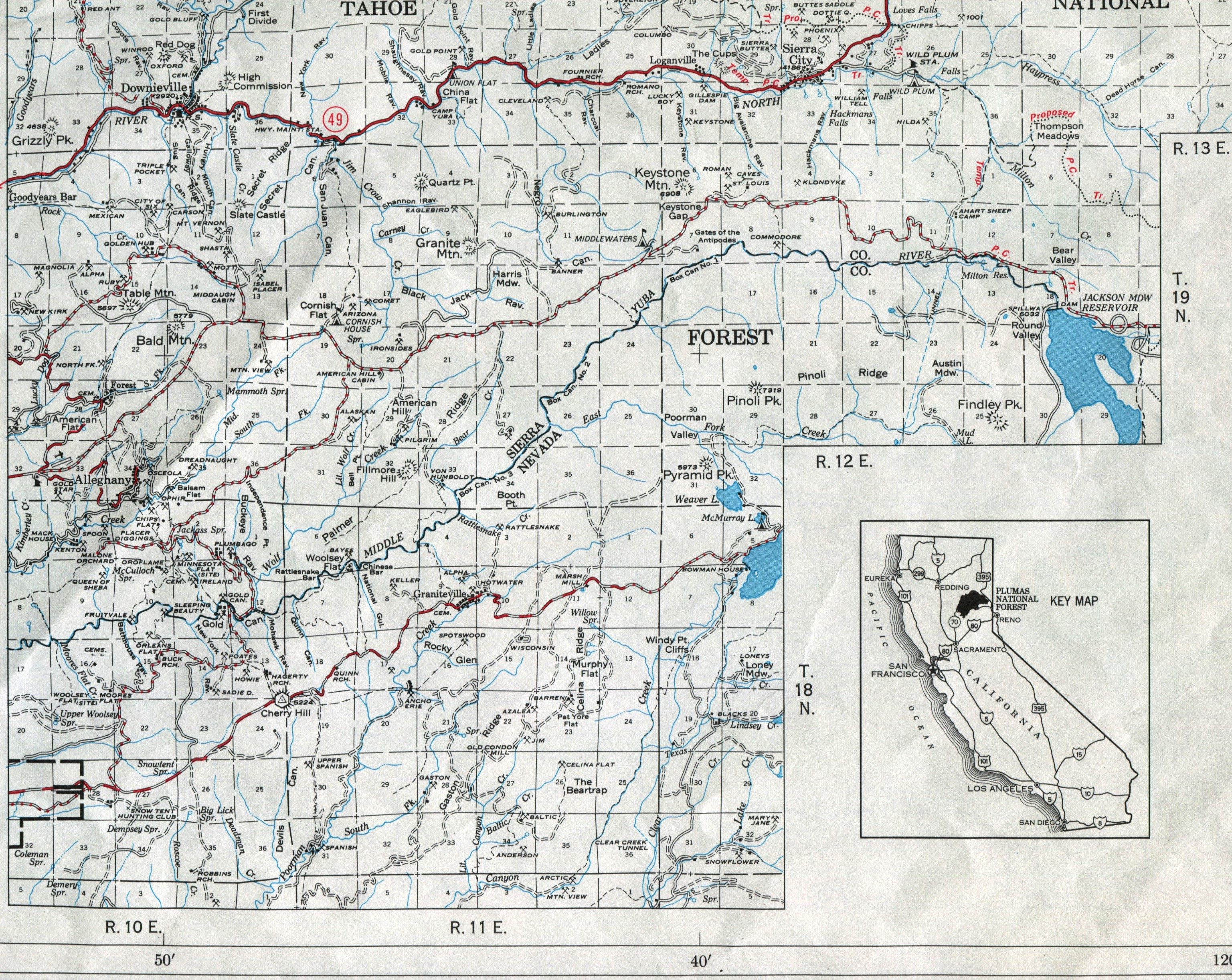Plumas National Forest Map 1971